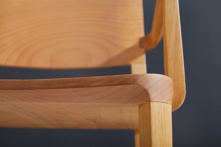 Hardwood Minimalist Modern Chair in Natural Solid Wood with Arms For Sale