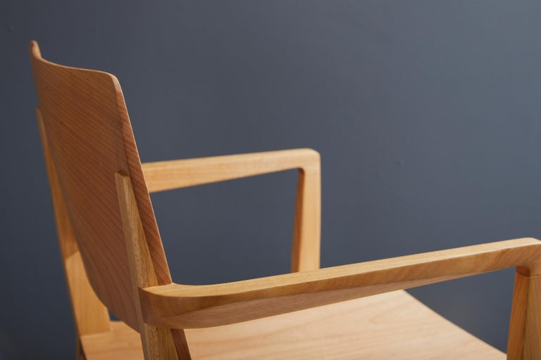Minimalist Modern Chair in Natural Solid Wood with Arms For Sale 2