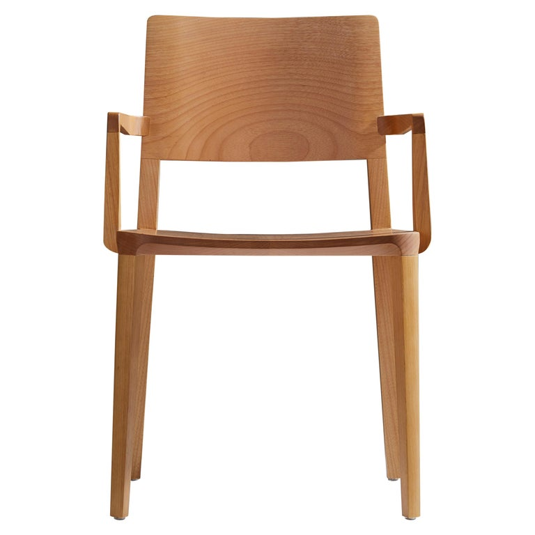 Minimalist Modern Chair in Natural Solid Wood with Arms For Sale