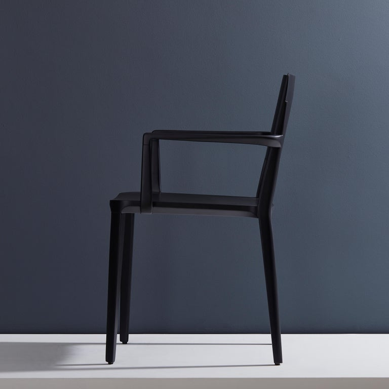 Brazilian Minimalist Modern Chair in Solid Wood Black Finish with Arms For Sale