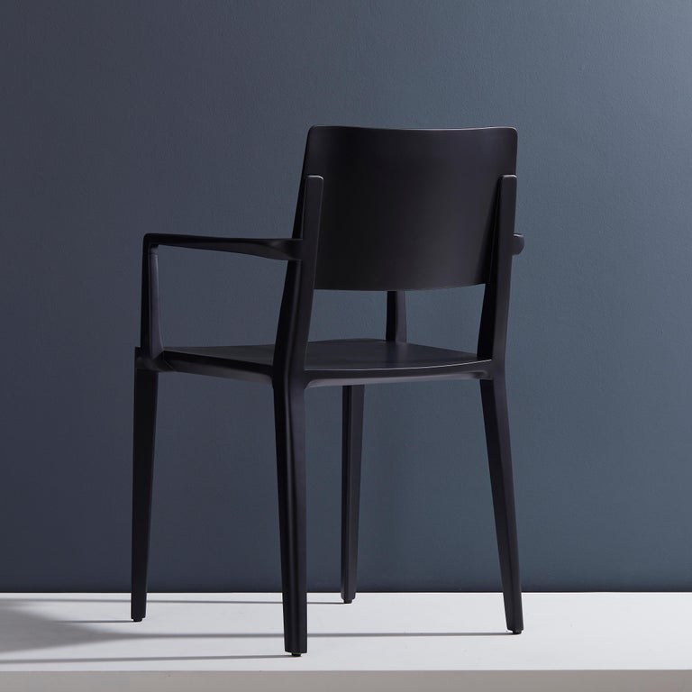 Minimalist Modern Chair in Solid Wood Black Finish with Arms In New Condition For Sale In Sao Paolo, SP