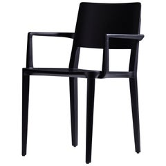 Minimalist Modern Chair in Solid Wood Black Finish with Arms