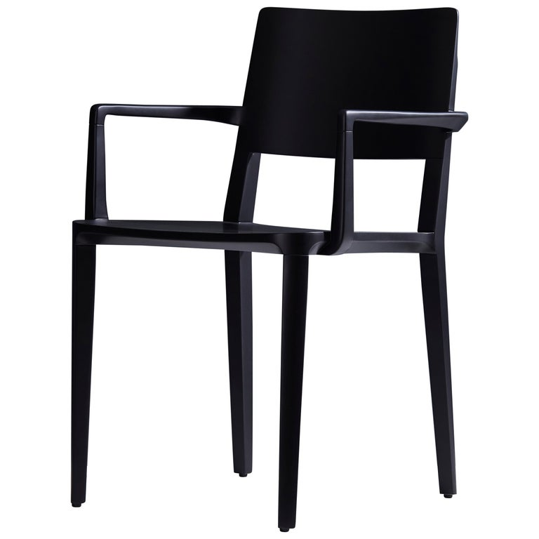 Minimalist Modern Chair in Solid Wood Black Finish with Arms For Sale
