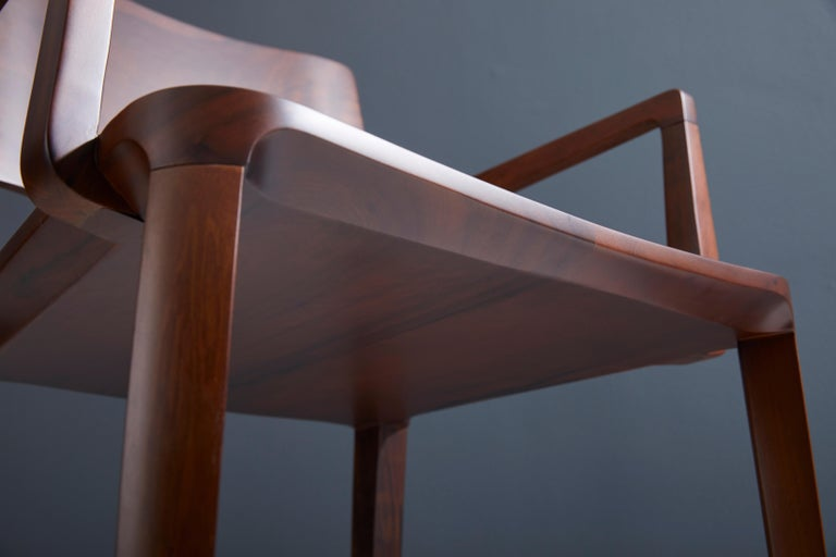 Minimalist Modern Chair in Solid Wood Limited Edition with Arms and Leather Seat For Sale 6