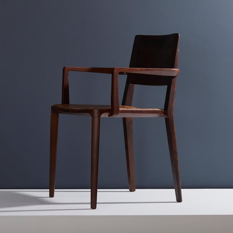 Brazilian Minimalist Modern Chair in Solid Wood Limited Edition with Arms and Leather Seat For Sale