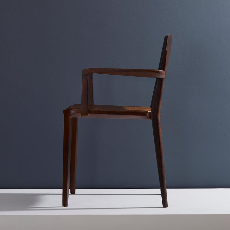 Minimalist Modern Chair in Solid Wood Limited Edition with Arms and Leather Seat In New Condition For Sale In Sao Paolo, SP