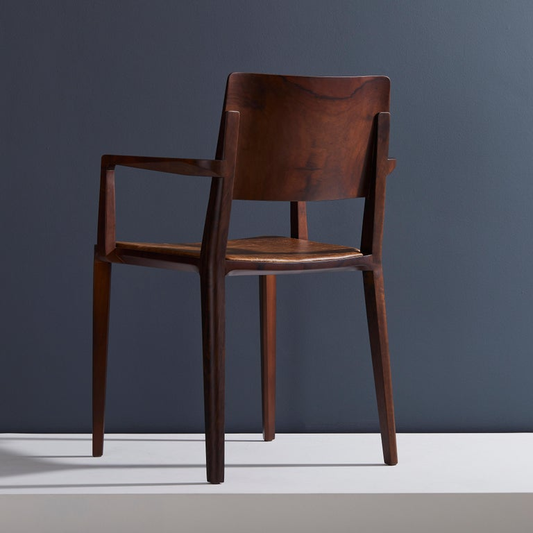 Contemporary Minimalist Modern Chair in Solid Wood Limited Edition with Arms and Leather Seat For Sale