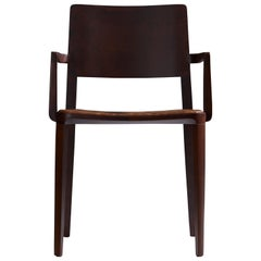 Minimalist Modern Chair in Solid Wood Limited Edition with Arms and Leather Seat