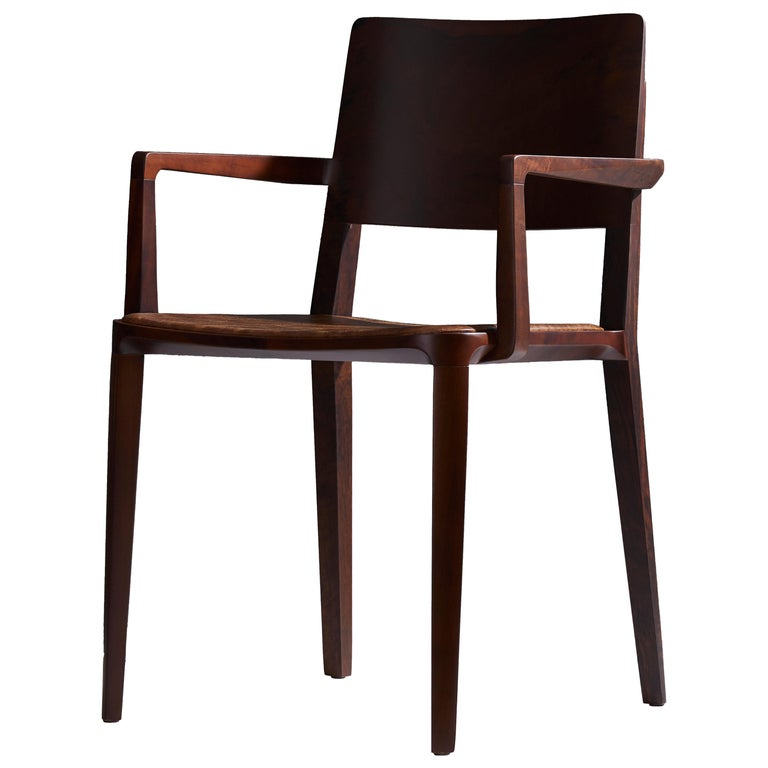 Minimalist Modern Chair in Solid Wood Limited Edition with Arms and Leather Seat For Sale