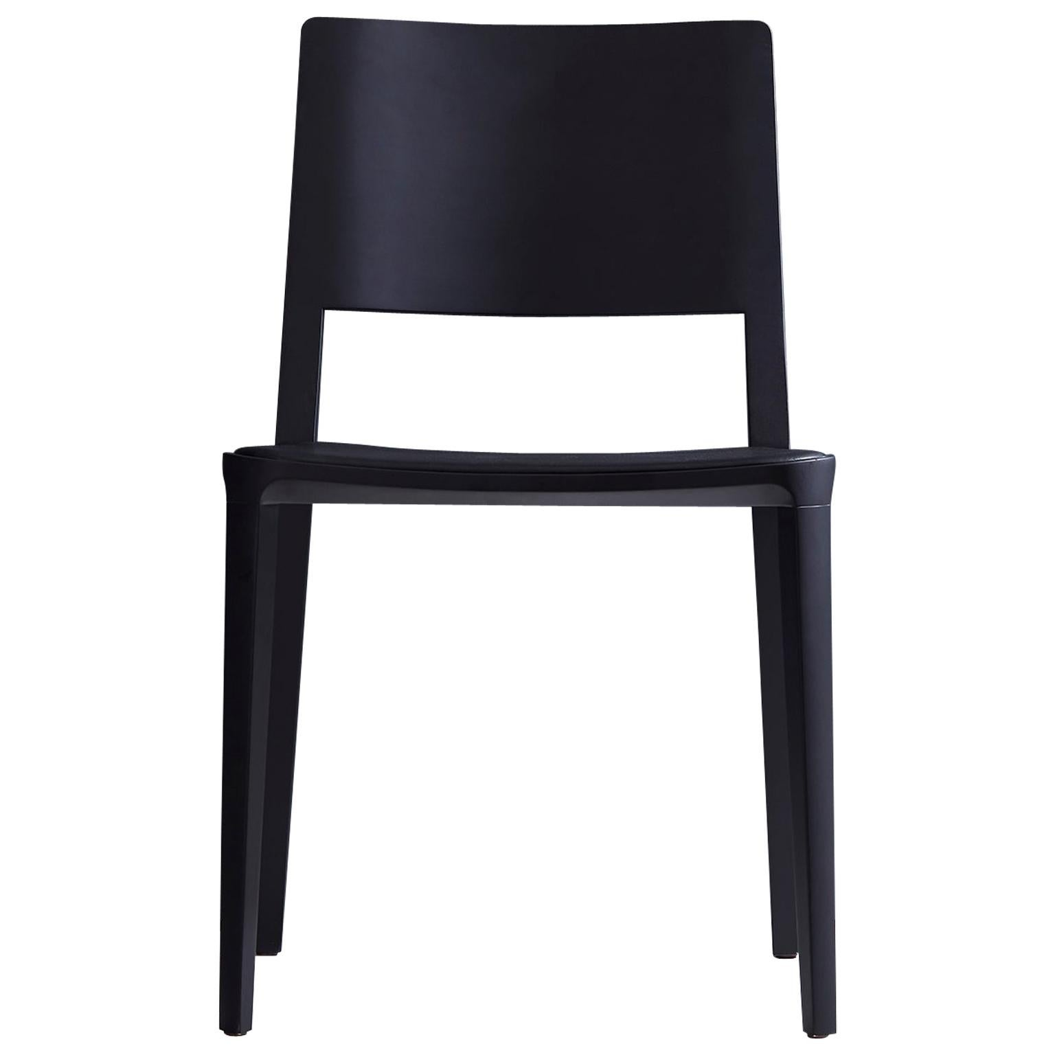 Minimalist Modern Chair in Solid Wood Solid Black Finish, Leather Seating