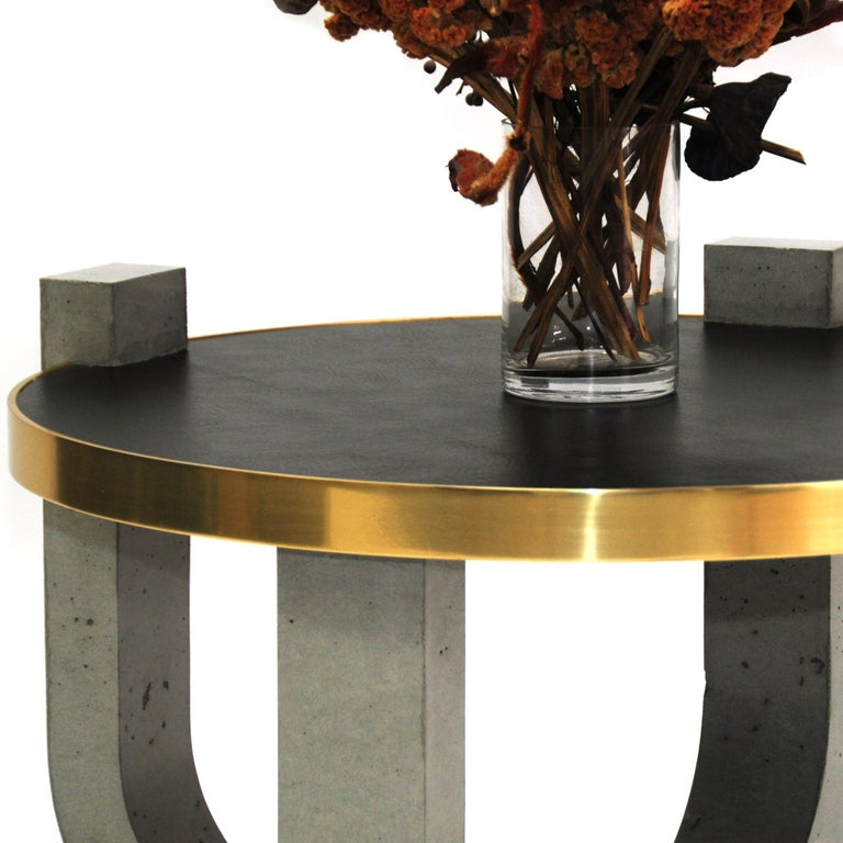 Cast Minimalist Modern Concrete Leather-top Round Coffee Table with Brass Detail For Sale