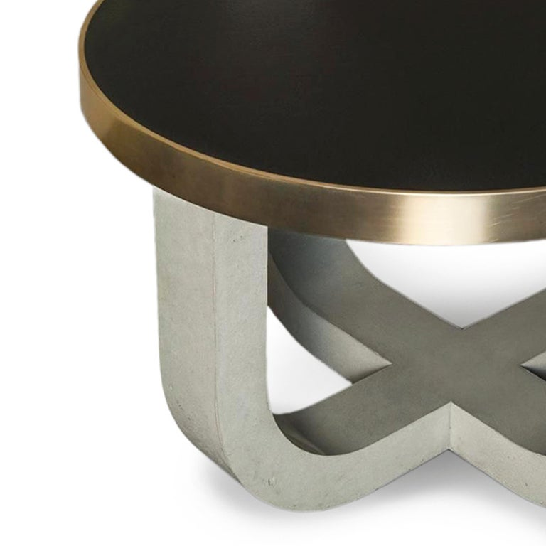 Contemporary Minimalist Modern Concrete Leather-top Round Coffee Table with Brass Detail For Sale