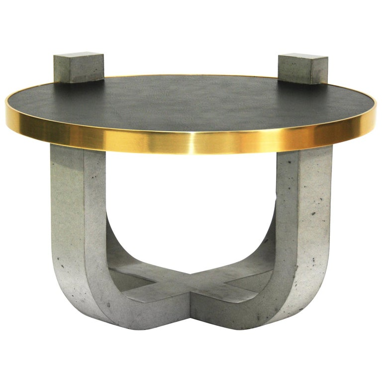 Minimalist Modern Concrete Leather-top Round Coffee Table with Brass Detail For Sale