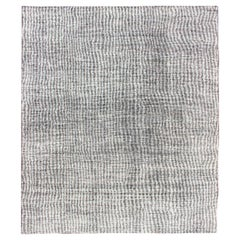 Minimalist Modern Design Distressed Rug in Shades of White and Taupe