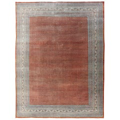 Minimalist Modern Design Persian Tabriz Rug with Faded Red-Orange Background