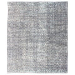 Minimalist Modern Distressed Rug in Shades of Gray, Taupe, Blue, Green & White