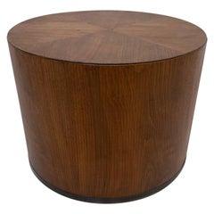 Minimalist Modern Lane Cylinder Drum Side Accent Table in Walnut Wood, 1960s