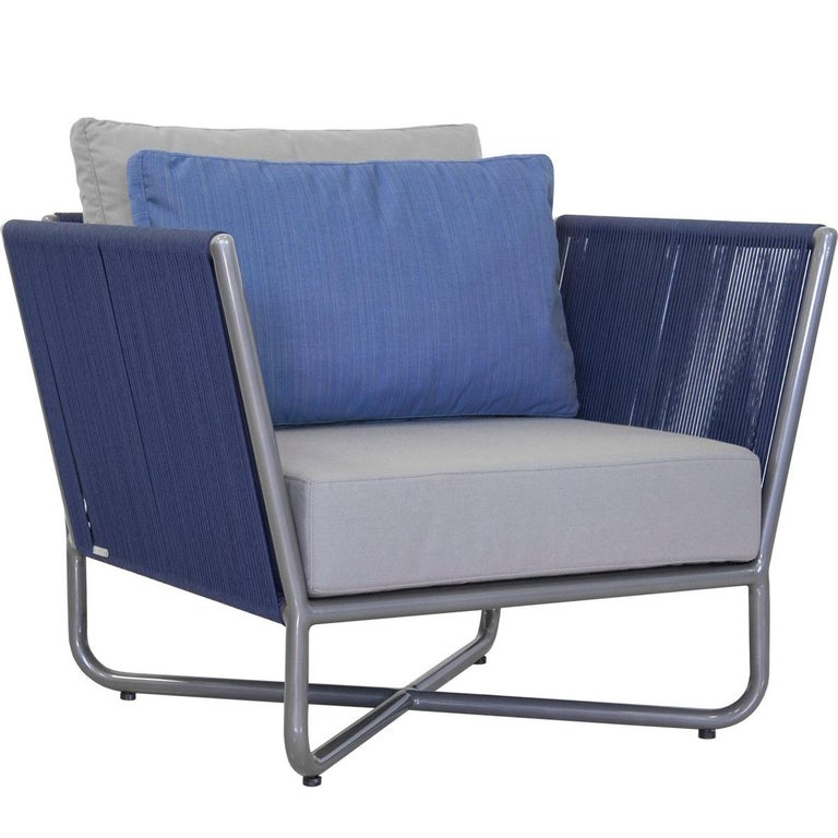 Minimalist Modern Outdoor Armchair, Metal with Nautical Rope Pattern For Sale
