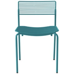 Minimalist Modern Stacking Wire Chair, the Stacking Rachel Chair in Peacock Blue