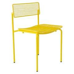 Minimalist Modern Stacking Wire Chair, the Stacking Rachel Chair in Yellow