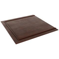Minimalist Modern Walnut Platform King Bed Frame, Judd Style