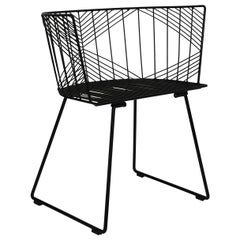 Minimalist Modern Wire Side Chair, The Captain Chair by Bend Goods in Black