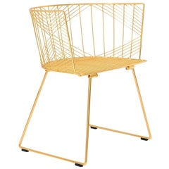 Minimalist Modern Wire Side Chair, the Captain Chair by Bend Goods in Gold