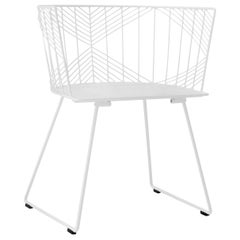 Minimalist Modern Wire Side Chair, the Captain Chair by Bend Goods in White