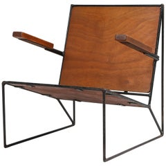 Minimalist Modernist Lounge Chair Atelier Belge in Teak and Metal