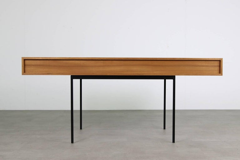 Contemporary Minimalist Nathan Lindberg Design Teak and Metal Writing Table Mod. NL40 Black For Sale