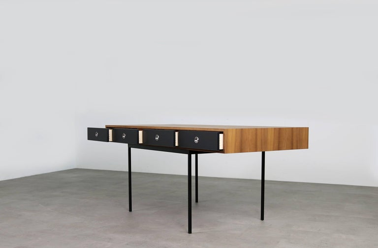 Minimalist Nathan Lindberg Design Teak and Metal Writing Table Mod. NL40 Black For Sale 1