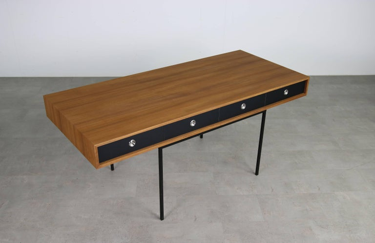 Minimalist Nathan Lindberg Design Teak and Metal Writing Table Mod. NL40 Black For Sale 3
