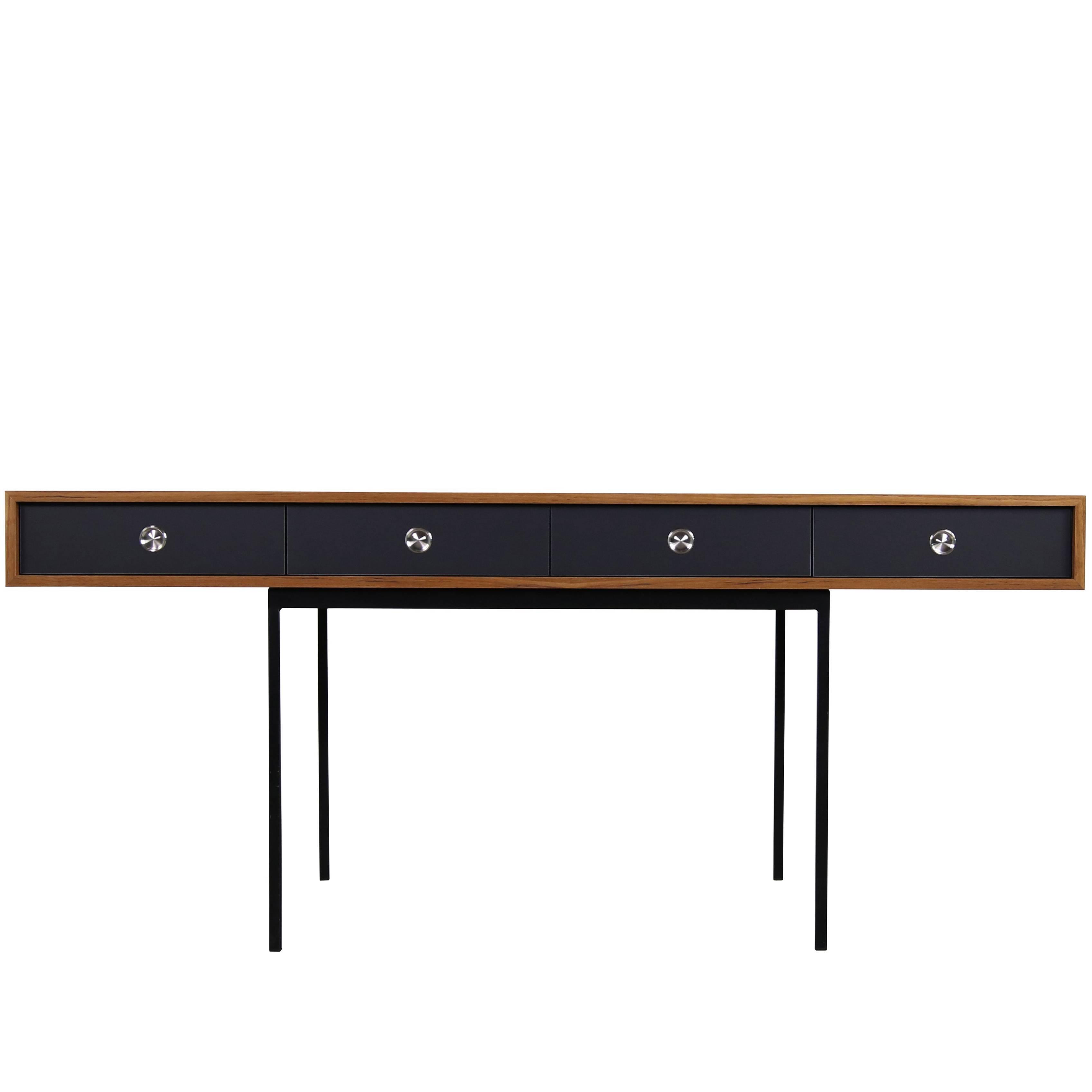 Minimalist Nathan Lindberg Design Teak and Metal Writing Table Mod. NL40 Black