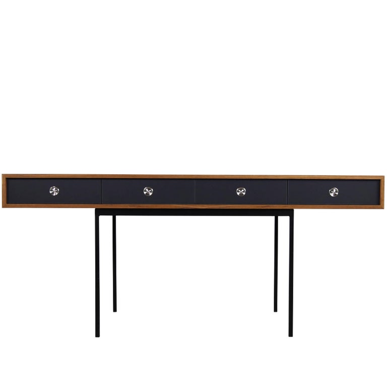 Minimalist Nathan Lindberg Design Teak and Metal Writing Table Mod. NL40 Black For Sale