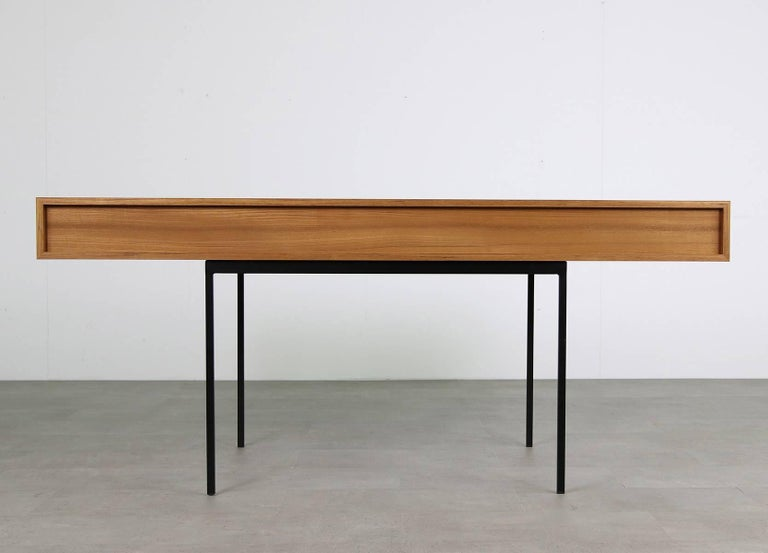 Modern Minimalist Nathan Lindberg Design Teak and Metal Writing Table Mod. NL40 White For Sale
