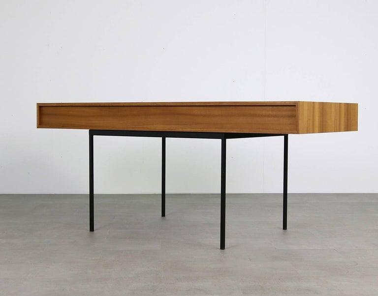 German Minimalist Nathan Lindberg Design Teak and Metal Writing Table Mod. NL40 White For Sale