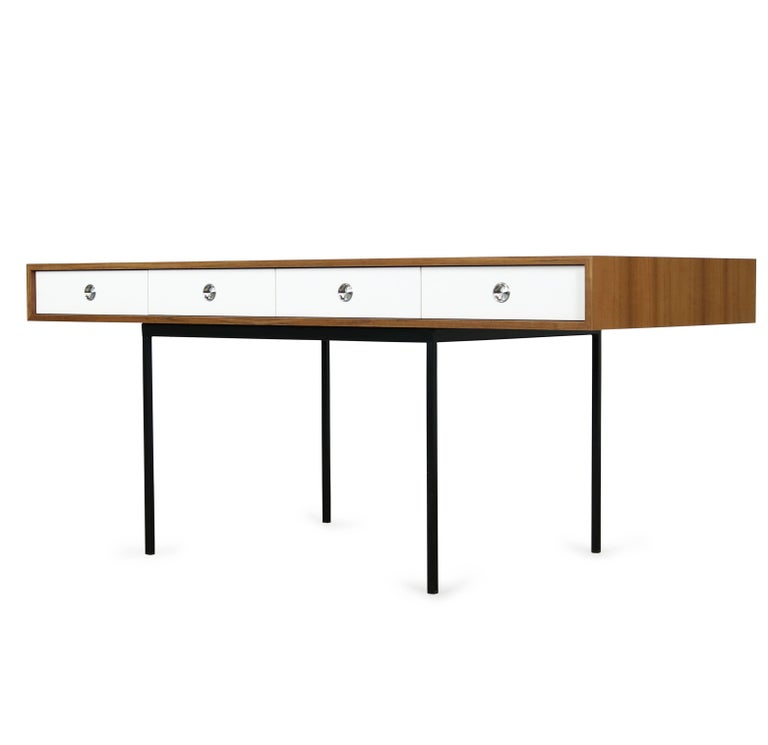 Minimalist Nathan Lindberg Design Teak and Metal Writing Table Mod. NL40 White For Sale 2