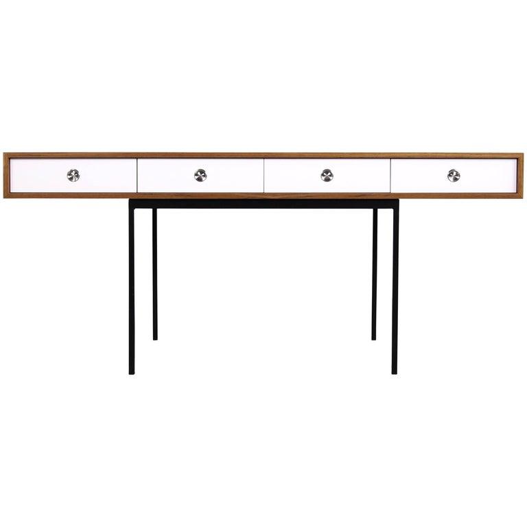 Minimalist Nathan Lindberg Design Teak and Metal Writing Table Mod. NL40 White For Sale