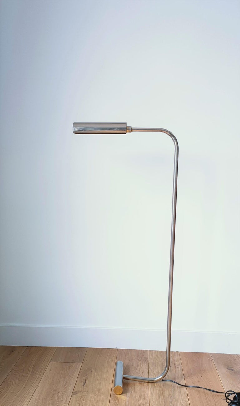 Minimalist Nickel-Plated Brass Reading Lamp by Christian Liaigre, France, 1980s In Fair Condition For Sale In New York, NY