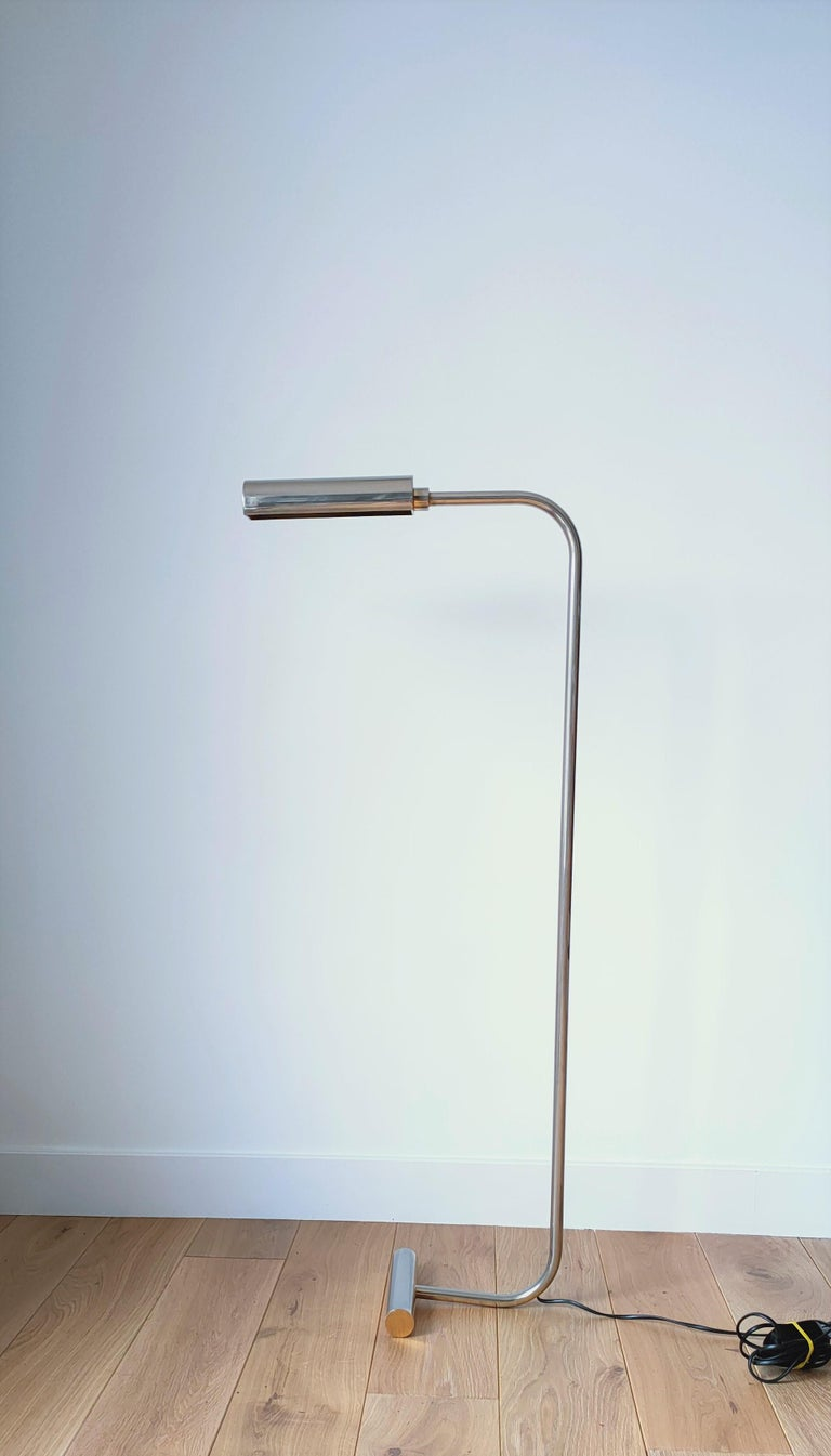 Late 20th Century Minimalist Nickel-Plated Brass Reading Lamp by Christian Liaigre, France, 1980s For Sale