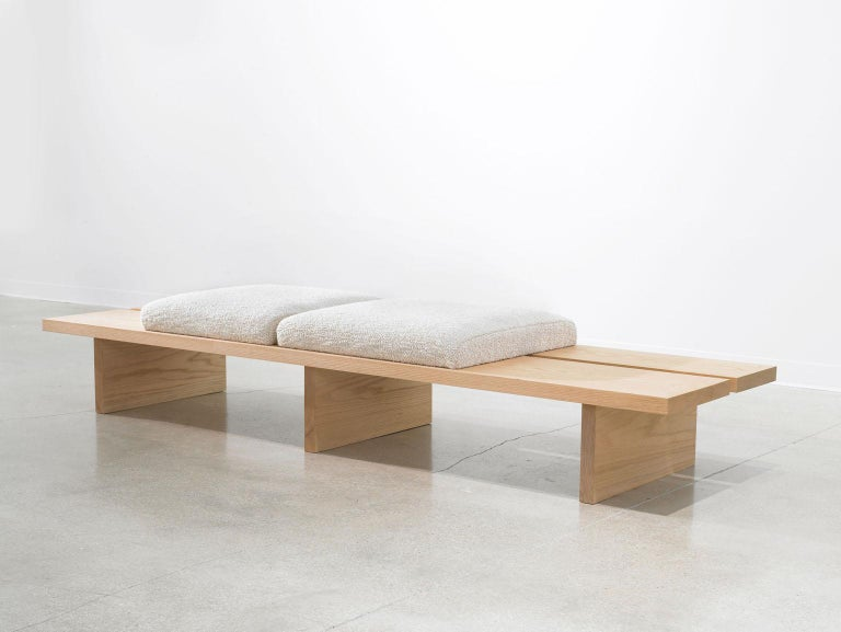 American Minimalist Oak Bench with Custom Bouclé and Denim Patchwork by Carbonell Design For Sale
