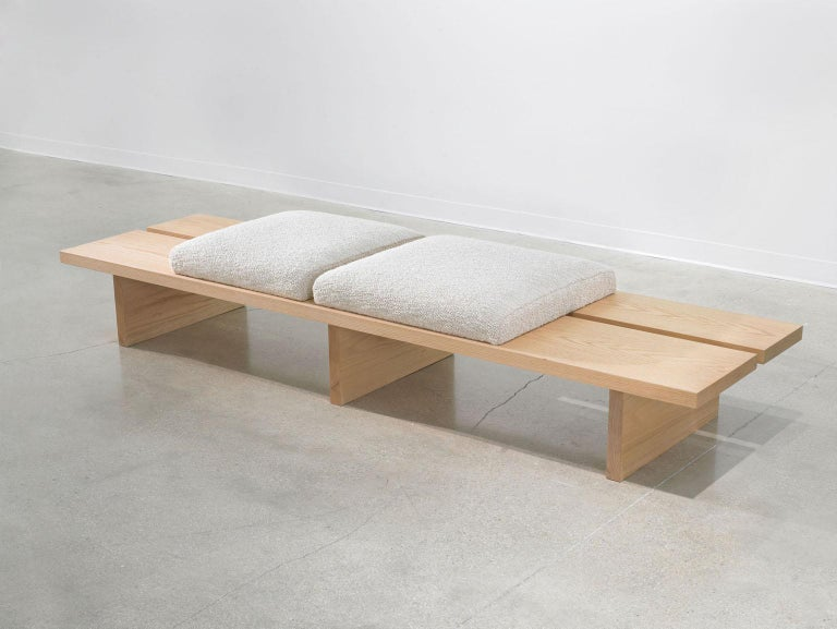 Woodwork Minimalist Oak Bench with Custom Bouclé and Denim Patchwork by Carbonell Design For Sale