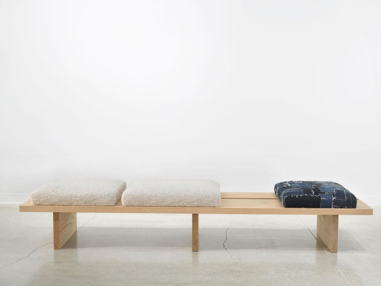 Minimalist Oak Bench with Custom Bouclé and Denim Patchwork by Carbonell Design In New Condition For Sale In Miami, FL