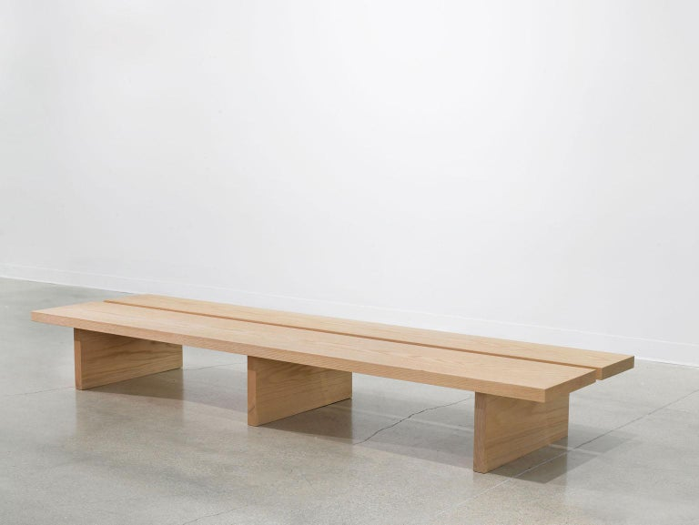 Minimalist Oak Bench with Custom Bouclé and Denim Patchwork by Carbonell Design For Sale 1