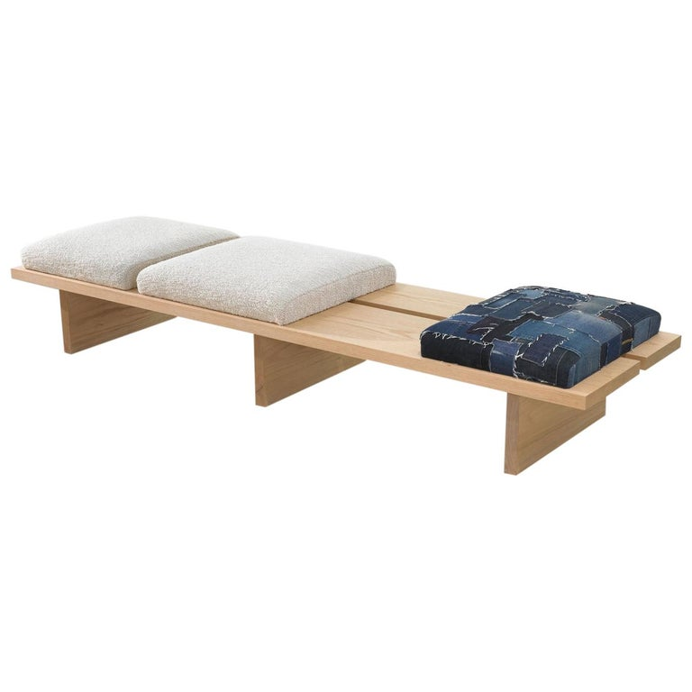 Minimalist Oak Bench with Custom Bouclé and Denim Patchwork by Carbonell Design For Sale