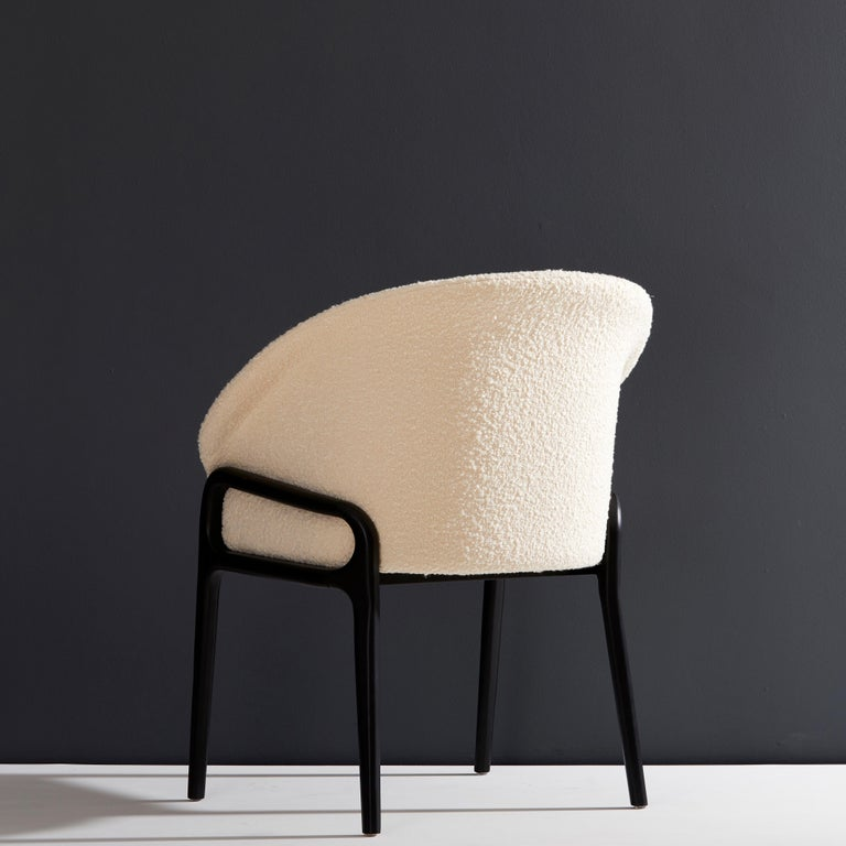 Brazilian Minimalist Organic Chair in Solid Wood, Upholstered Seating For Sale