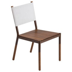 Minimalist Outdoor Chair in Hardwood, Metal and Fabric
