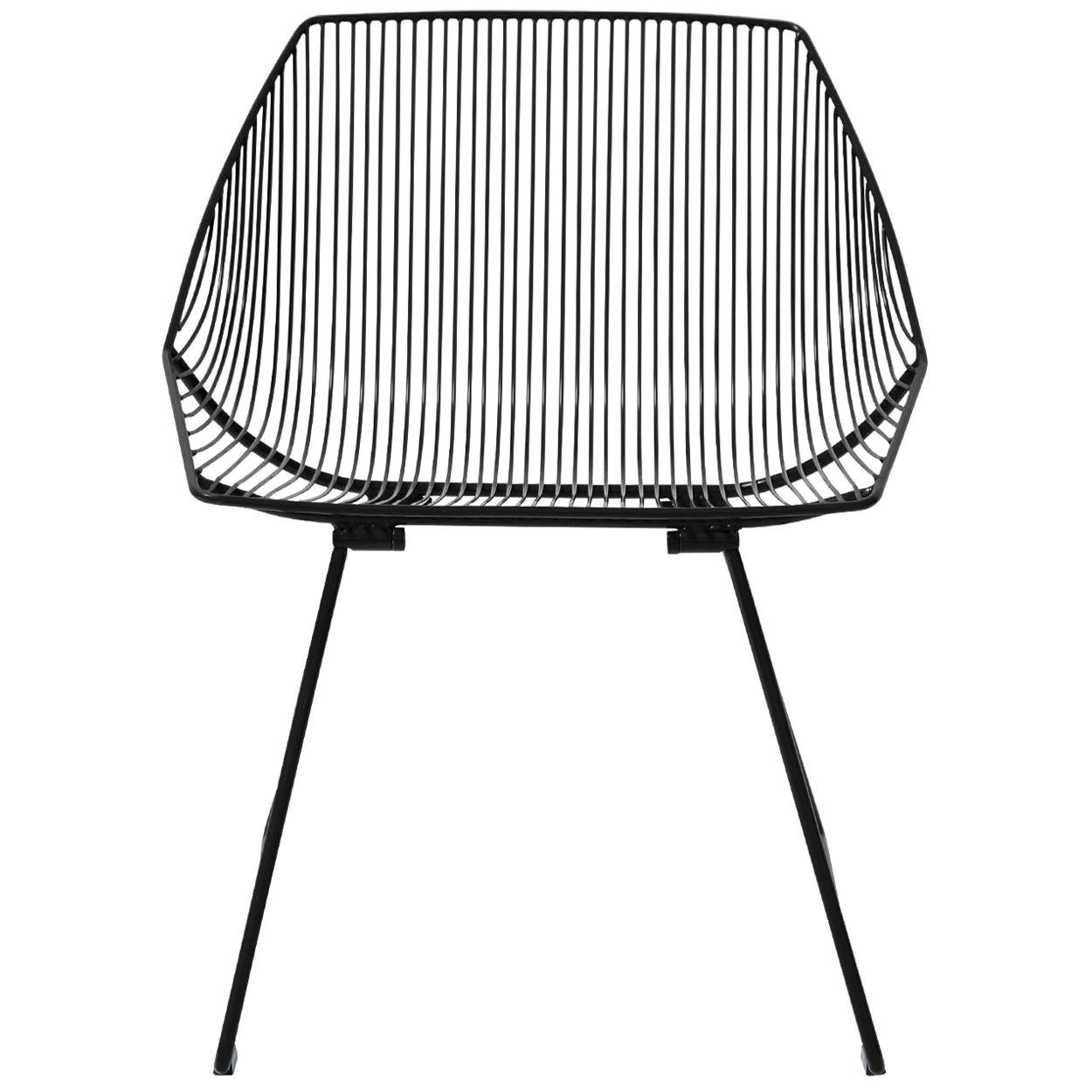 Minimalist Outdoor Wire Lounge Chair, The Bunny Lounge in Black