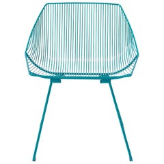 Minimalist Outdoor Wire Lounge Chair, The Bunny Lounge in Peacock Blue