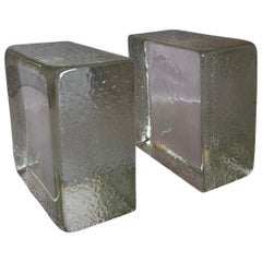 Minimalist Pair of Clear Glass Textured Bookends in the Style of Blenko